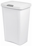 Sterilite 10458004 Sterilite 13 Gallon / 49 Liter Touch Top Wastebasket - White with Gray Latch