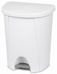 Sterilite 10948004 Step-On Wastebasket, White, 6.6-Gal.