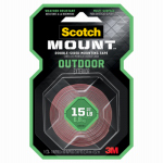 3M 411P Outdoor Mounting Tape, Double Sided, 1-In. x 5-Ft.