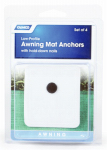 Camco Mfg 45631 Awning Mat Plastic Anchors, White, 4-Pk.