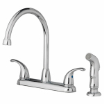 Homewerks Worldwide 116866CA High-Arc Kitchen Faucet With Spray, 2 Handles, Chrome
