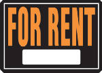 "Hy-Ko Prod 802 Sign, ""For Rent"", Hy-Glo Orange & Black Aluminum, 10 x 14-In."