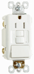 Pass & Seymour 1597SWTTRWCCD4 GFCI Receptacle/Single-Pole Switch, 15A, White