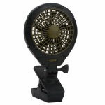 O2cool FC05005 Personal Clip Fan, Black & Green, Battery-Operated, 5-In.