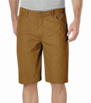 Williamson Dickie Mfg DX250RBD42 Carpenter Shorts, Relaxed Fit, Sanded Duck, Brown Duck, Men's 42x11 in. Inseam