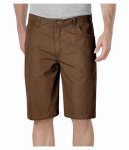 Williamson Dickie Mfg DX250RTB34 Carpenter Shorts, Relaxed Fit, Sanded Duck, Timber Brown, Men's 34x11 in. Inseam