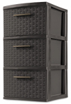 Sterilite 26306P02 Storage Tower, 3 Drawer, Espresso Weave, 15 x 12-5/8 x 24-In.