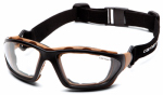 Pyramex Safety Products CHB410DTP Carthage Safety Glasses, Clear Lens/Black & Tan Frame