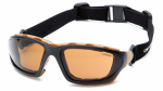Pyramex Safety Products CHB418DTP Carthage Safety Glasses, Bronze Lens/Black & Tan Frame