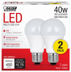 Feit Electric A450830/10KLED/2/CAN LED Light Bulbs, 5-Watt, 2-Pk.