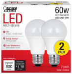 Feit Electric A800830/10KLED/2/CAN LED Light Bulbs, 9.8-Watt, 2-Pk.