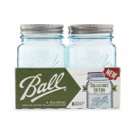 Jarden Home Brands 1440069023 Collection Elite Mason Jars, Wide-Mouth, Blue, 1-Pt., 4-Pk.