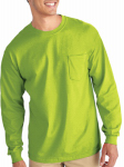 Gildan Usa G2410GRN-L Pocket T-Shirt, Long Sleeve, Safety Green, Large