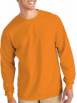 Gildan Usa 285463 Pocket T-Shirt, Long Sleeve, Safety Orange, Medium
