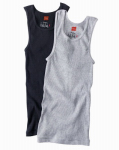 Hanesbrands 392DP2-M 2PK Medium BLK/GRY TankTee