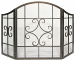 Panacea Products 15955 Fireplace Screen, Folding Scroll, Brushed Bronze, 3-Panel