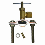 Larsen Supply 17-0601 Pipe Fitting, Self Tapping Saddle Needle Valve, Brass, 1/4-In. Compression Outlet