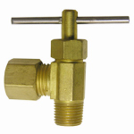 Larsen Supply 17-1109 Pipe Fitting, Angle Needle Valve, Brass, 1/4-In. Compression x 1/8-In. MPT
