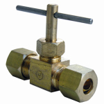 Larsen Supply 17-1511 Straight Needle Valve, Brass, Compression, 1/4 x 1/4-In.