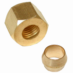 Larsen Supply 17-6115 Pipe Fitting, Compression Nut & Sleeve, Brass, 1/4-In.