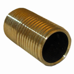 Larsen Supply 17-9441 Pipe Fitting, Brass Nipple, Lead-Free, 1/2 MPT x 1-1/8-In. Close
