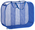 Honey Can Do Intl HMP-03892 Triple Sorter Laundry Basket, Blue Mesh, 30 x 11 x 24-In.