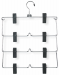 Honey Can Do Intl HNG-01188 Fold-Up Skirt Hangers, 4-Tier, Chrome With Black Plastic