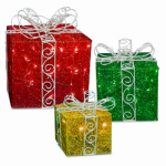 National Tree Co-Import DF-100001 LED Gift Box Christmas Decoration, Indoor/Outdoor