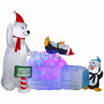 Gemmy Industries 89898 Christmas Decoration, Lighted Inflatable Polar Bear & Penguins, 72-In.