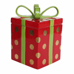 Allen Group Intl CX826001R Holiday Candy Jar, Ceramic Gift Box, 8-In.