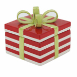 Allen Group Intl CX846804 Holiday Candy Jar, Ceramic Gift Box, 4.5-In.