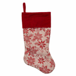 Dyno Seasonal Solutions 1187447-1 Christmas Stocking, Burlap Poinsettia, 18-In.