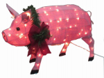 Citi Talent 54-444-087 Christmas Decoration, Lighted Burlap Pig, 32 x 18.5-In.