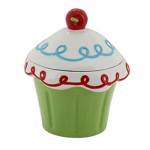 Allen Group Intl CX883409 Cookie/Candy Jar, Ceramic Cupcake, 6-In.
