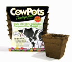 Cowpots CP 4 SQ 12PK - 12PKS Plantable Pots, Square, 4-In., 12-Pk.