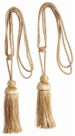 Kenney Mfg KN99709 Curtain Tiebacks, Gold, 23.5-In., 2-Pk.
