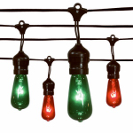 Noma/Inliten-Import V42987-88 Christmas Light Set, Edison Drop, Red & Green, 20-Ct.