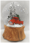 Christmas House Taiwan 511527 Christmas Snow Globe, Musical, Red Truck, 120 mm
