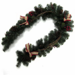 Shadloo Industrial 28-PCN00072S Branch Garland with Burlap Bow Accents, 6-Ft.