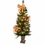 Shadloo Industrial 28-YCY00067S Christmas Porch Tree, Decorations + 70 Clear Lights, 4-Ft.