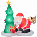 Gemmy Industries 35137 Airblown Christmas Decoration, Santa & Dog, 81-In.