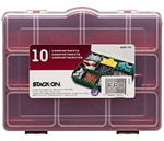 Stack On Products SBR-10 Tool Storage Box, Red, 10 Compartments