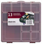 Stack On Products SBR-13 Tool Storage Box, Red, 13 Compartments