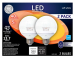 G E Lighting 34743 LED Bulb, Globe, Medium Base, Clear, 5-Watt, 2-Pk.