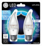 G E Lighting 17831 LED Bulb, Deco, Medium Base, Clear, 7-Watt, 2-Pk.