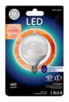 G E Lighting 21283 LED Bulb, Globe, Medium Base, Clear, 5-Watt