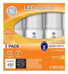 G E Lighting 32277 LED Bright Stik Bulb, Soft White, 6-Watt, 3-Pk.