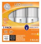 G E Lighting 32277 LED Bright Stik Bulb, Medium Base, 6-Watt, 3-Pk.