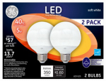 G E Lighting 17809 LED Bulb, Globe, White, Medium Base, 5-Watt, 2-Pk.