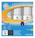 G E Lighting 32282 LED Bright Stik Bulb, Soft White, 10-Watt, 3-Pk.